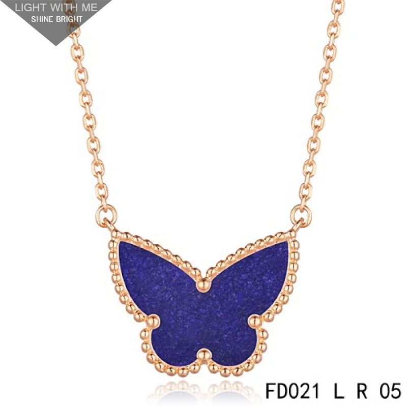 9cdea2debe191 Van Cleef Arpels Lucky Alhambra Lapis lazuli Butterfly Necklace Pink Gold