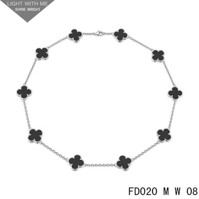 e0f218101b8d7 Van Cleef Arpels Vintage Alhambra Necklace White Gold 10 Motifs Black Onyx