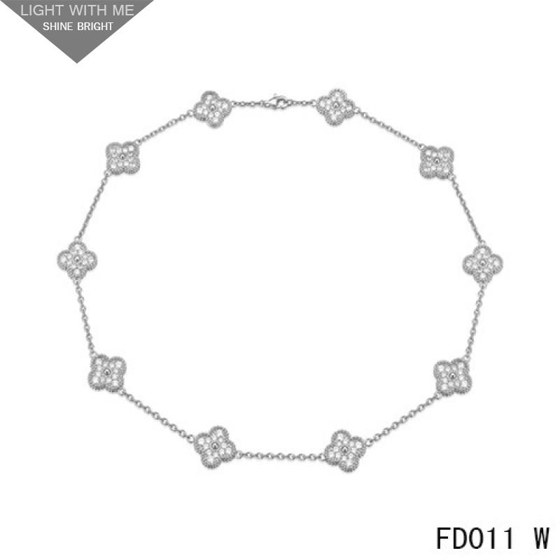 4591f54e24c0 Van Cleef   Arpels White Gold Vintage Alhambra Necklace 10 Motifs with Pave  Diamonds