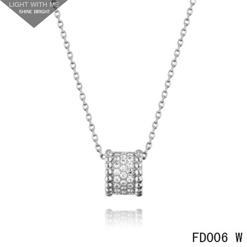 Van cleef arpels white gold perlee pendant with diamonds 5 rows aloadofball Image collections
