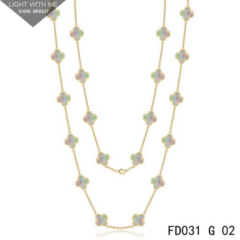 2af13c2572f54 Van Cleef   Arpels Vintage Alhambra 20 Motifs Long Necklace Yellow Gold  Grey MOP