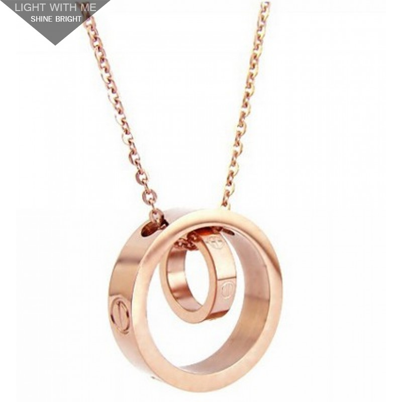 Cartier Double Rings LOVE Necklace in 18kt Pink Gold ...