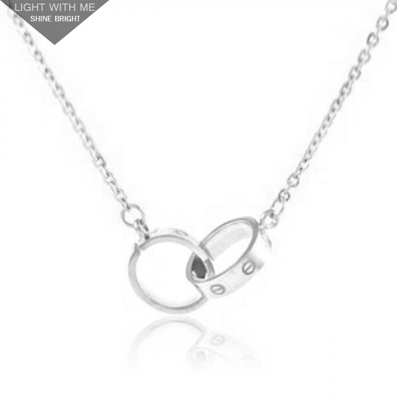 d440b9121632f Cartier Love 2 Rings Charm Necklace in 18K White Gold.REF:B7013700 ...