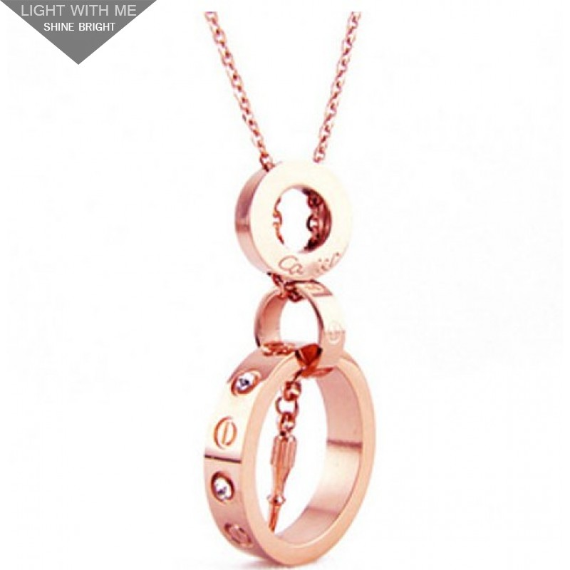 6b73bd5faabb0 Cartier Screwdriver LOVE Necklace in 18k Pink Gold With Diamond ...