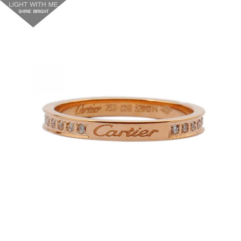 Cartier D Amour Wedding Band Ring 18kt Pink Gold With Pave Diamonds