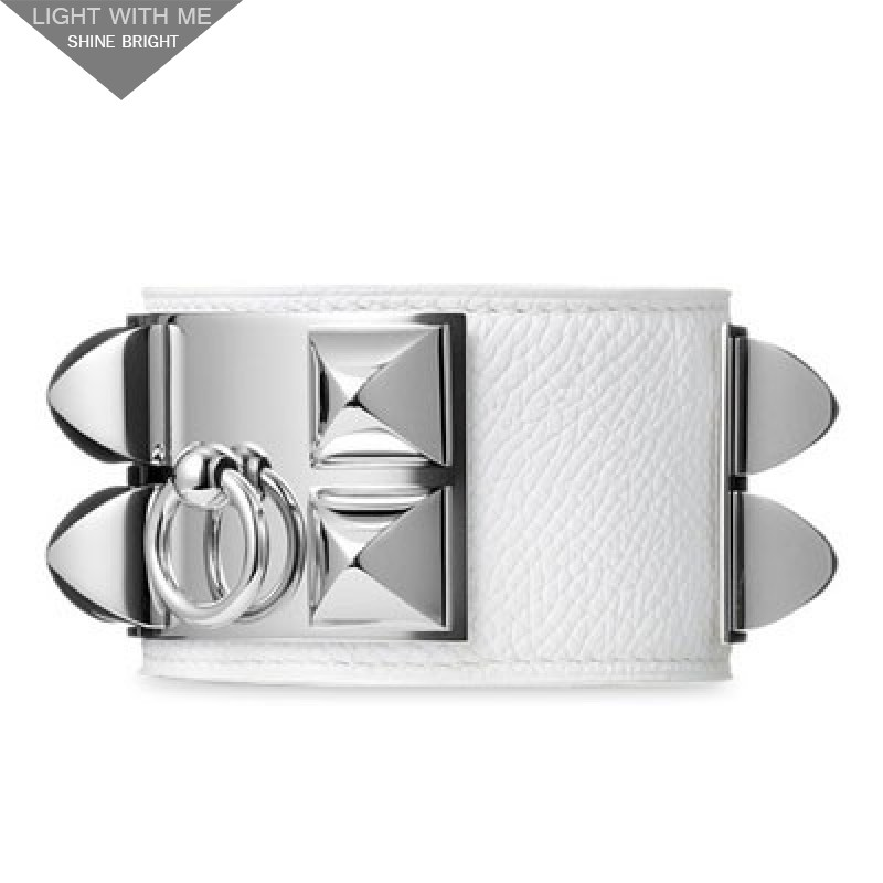 Hermes White Leather Collier de Chien Bracelet with White