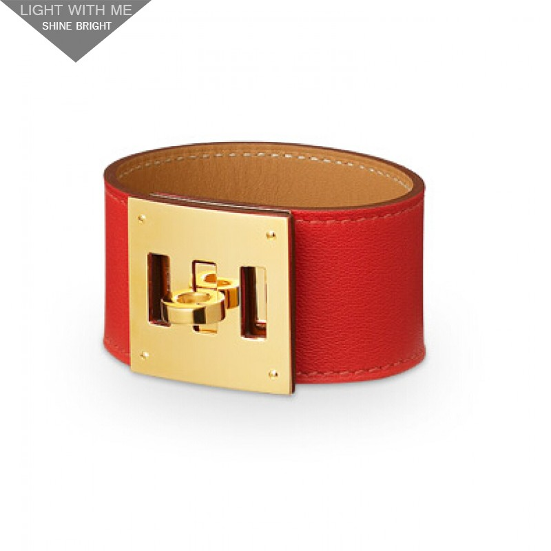 Hermes Red Leather Kelly Dog Bracelet With Gold Plated Clasp