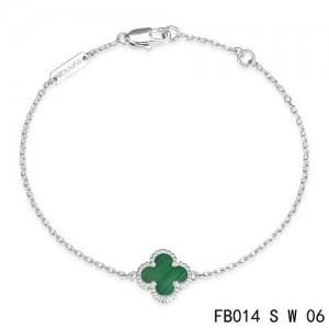 Van Cleef & Arpels Malachite Clover White Gold Sweet Alhambra Bracelet