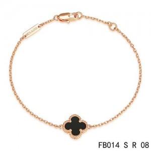 Van Cleef & Arpels Mini Black Onyx Clover Sweet Alhambra Bracelet in Pink Gold
