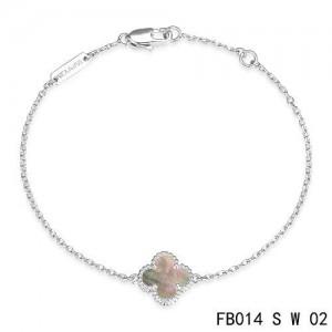 Van Cleef & Arpels Gray Mothe-of-parl Clover Sweet Alhambra Bracelet in White Gold