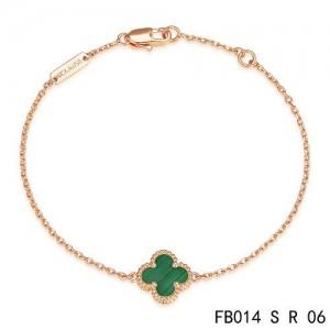 Van Cleef & Arpels Malachite Clover Sweet Alhambra Bracelet in Pink Gold