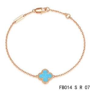 Van Cleef & Arpels Turquoise Clover Sweet Alhambra Bracelet in Pink Gold