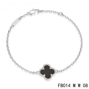 Van Cleef & Arpels Mini Black Onyx Sweet Alhambra Clover Bracelet in White Gold