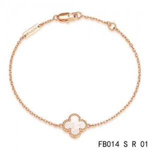 Van Cleef & Arpels White Mothe-of-parl Sweet Alhambra Clover Bracelet in Pink Gold