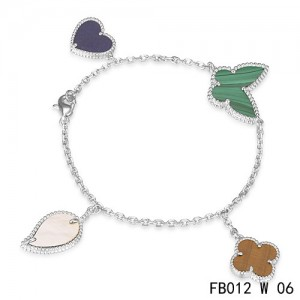 Lucky Alhambra White Gold Bracelet with 4 Stone Combination Motifs CMT0610