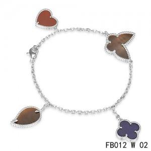 Lucky Alhambra White Gold Bracelet with 4 Stone Combination Motifs CHBL0215