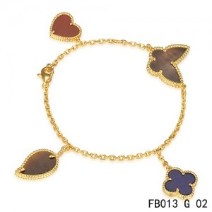 Lucky Alhambra Yellow Gold Bracelet with 4 Stone Combination Motifs HBLC2605