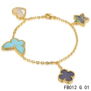 Lucky Alhambra Yellow Gold Bracelet with 4 Stone Combination Motifs CBSH0624