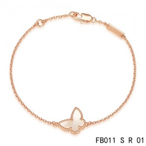 VCA Sweet Alhambra White Mother-of-peral Butterfly Bracelet in Pink Gold