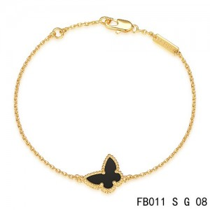 Van Cleef & Arpels Yellow Gold Sweet Alhambra Black Onyx Butterfly Bracelet