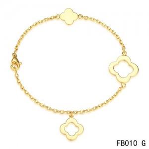 Van Cleef & Arpels Byzantine Alhambra Bracelet 3 Motifs Yellow Gold