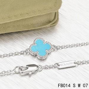 Van Cleef & Arpels Turquoise Clover White Gold Sweet Alhambra Bracelet