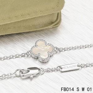 Van Cleef & Arpels White Mothe-of-parl Clover Sweet Alhambra Bracelet in White Gold