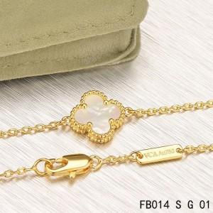 Van Cleef & Arpels White Mothe-of-parl Sweet Alhambra Clover Bracelet in Yellow Gold