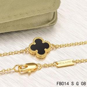 Van Cleef & Arpels Mini Black Onyx Sweet Alhambra Clover Bracelet in Yellow Gold