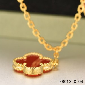 Van Cleef & Arpels Lucky Alhambra Yellow Gold Bracelet with 4 Carnelian Motifs