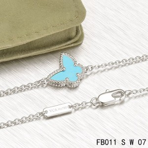 Van Cleef & Arpels Sweet Alhambra Butterfly mini Bracelet in White Gold with Turquoise