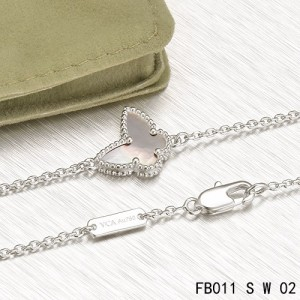 Van Cleef & Arpels Sweet Alhambra Butterfly mini Bracelet in White Gold with Gray Mother-of-peral
