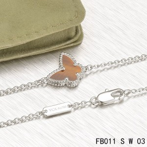 Van Cleef & Arpels Sweet Alhambra Butterfly mini Bracelet in White Gold with Tiger's Eye