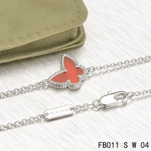 Van Cleef & Arpels White Gold Sweet Alhambra Carnelian Butterfly Bracelet
