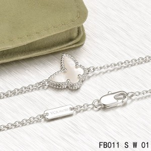 VCA Sweet Alhambra White Mother-of-peral Butterfly Bracelet in White Gold