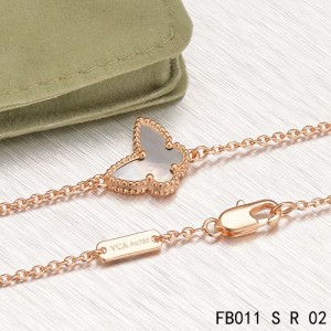 Sweet Alhambra Gray Mother-of-peral Butterfly Bracelet in Pink Gold