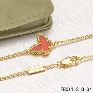 Van Cleef & Arpels Yellow Gold Sweet Alhambra Carnelian Butterfly Bracelet