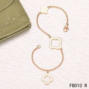 Van Cleef & Arpels Byzantine Alhambra Bracelet 3 Motifs Pink Gold