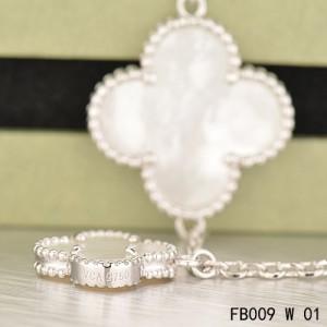 Van Cleef & Arpels Magic Alhambra 5 White Mother of Pearl Motifs White Gold Bracelet