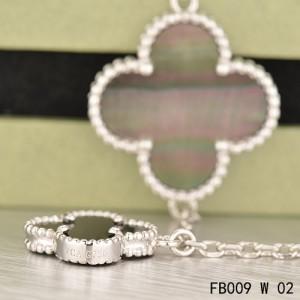 Van Cleef & Arpels White Gold Magic Alhambra 5 Stone Combination Motifs Bracelet