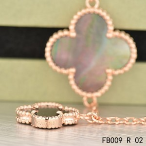 Van Cleef & Arpels Pink Gold Magic Alhambra Bracelet 5 Motifs Stone Combination