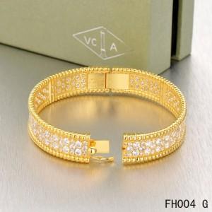 Van Cleef Arpels Perlee Bracelet With Diamonds Yellow Gold Medium Model