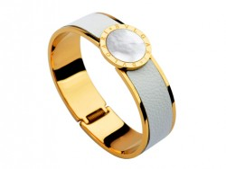 Bulgari-Bvlgari Wide Band Bangle in 18kt Yellow Gold and White Leather with Mother of Pearl