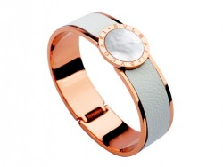 Bulgari-Bvlgari Wide Band Bangle in 18kt Pink Gold and White Leather with Mother of Pearl