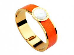 Bulgari-Bvlgari Wide Band Bangle in 18kt Yellow Gold and Orange Leather with Mother of Pearl