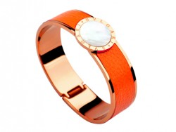 Bulgari-Bvlgari Wide Band Bangle in 18kt Pink Gold and Orange Leather with Mother of Pearl