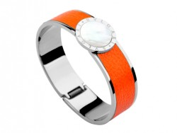 Bulgari-Bvlgari Wide Band Bangle in Steel and Orange Leather with Mother of Pearl