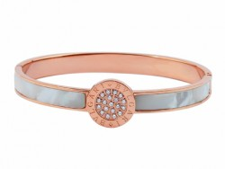Designer Bvlgari Bangle in 18kt Pink Gold with Mother of Pearl and Pave Diameters