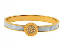 Designer Bvlgari Bangle in 18kt Yellow Gold with Mother of Pearl and Pave Diameters