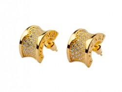 Bulgari B.zero1 Earrings in 18kt Yellow Gold with Pave Diamonds